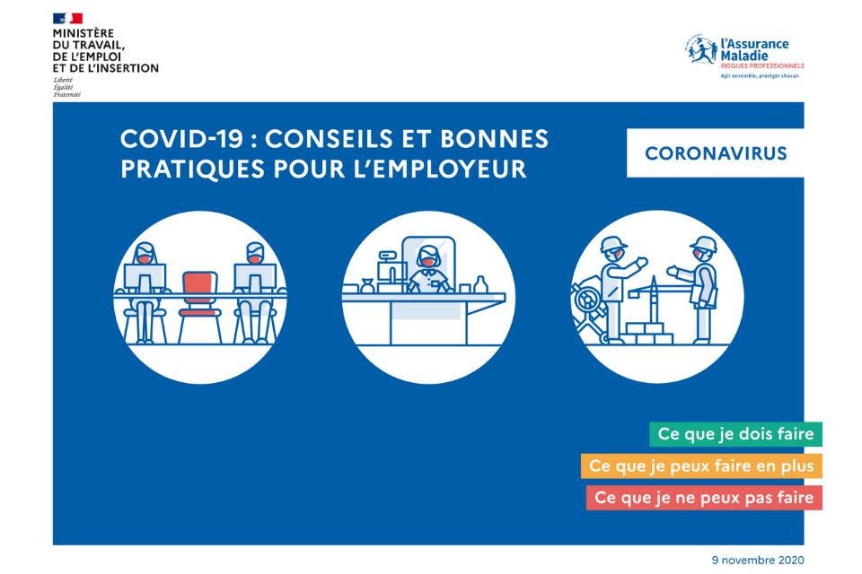 COVID-19, conseils et bonnes pratiques au travail : guides mis à jour