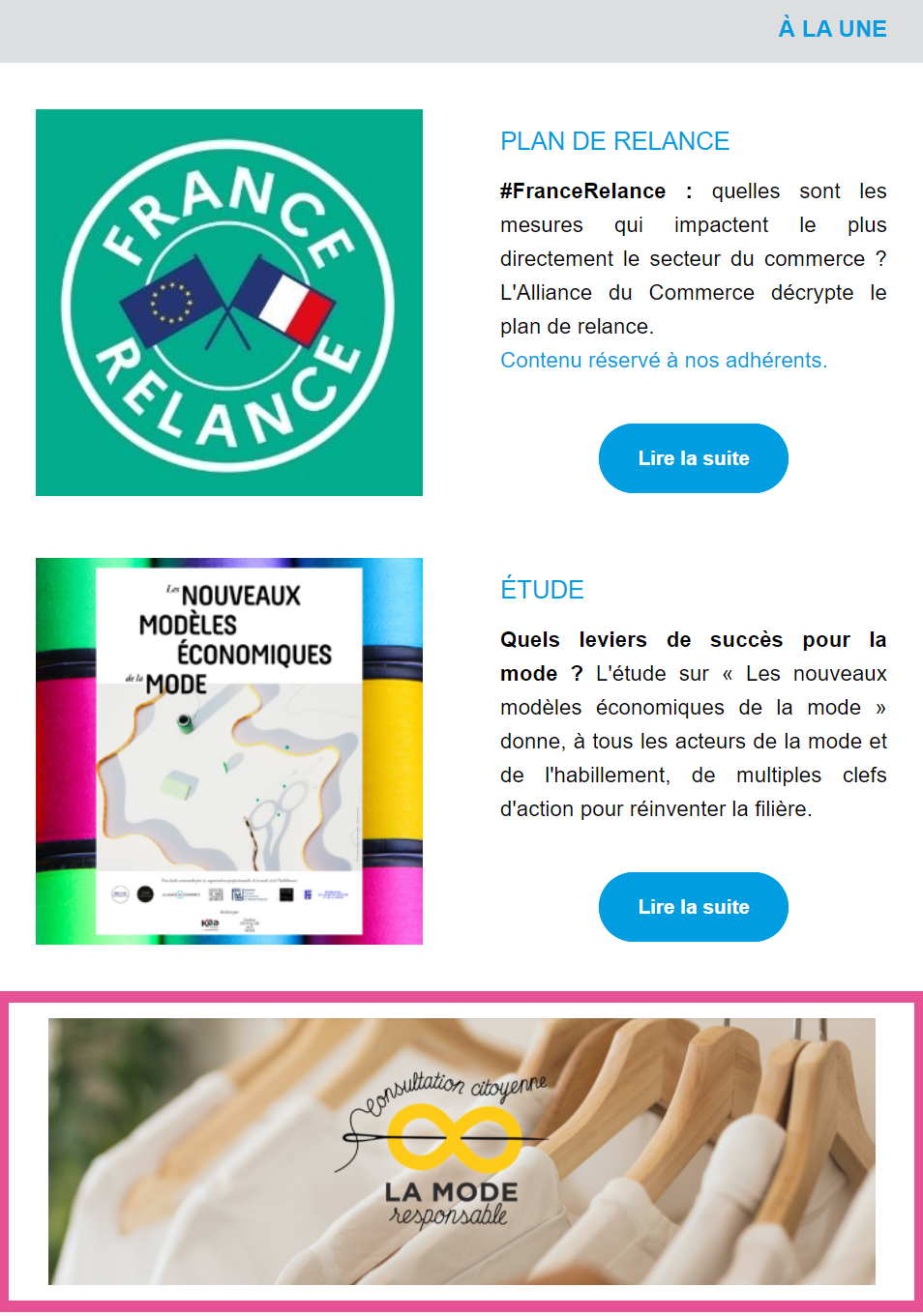 Newsletter Alliance du Commerce : exemple