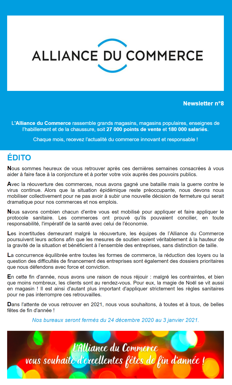 La newsletter de l'Alliance du Commerce